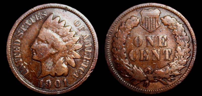 US Indian Head Penny 1901