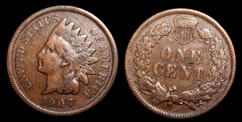US Indian Head Penny 1907