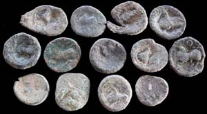 Celtic Bronze Uncleaned Tetradrachms, Prancing Ponies!