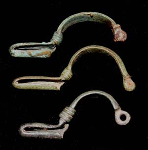 Brooch, Bent-foot, matched trio, c. 200-350 AD