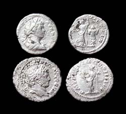 Caracalla Denarius, 2-pack, Minerva and Apollo