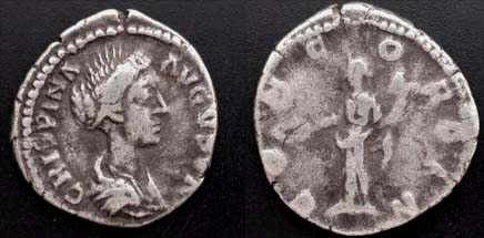 Crispina, Wife of Commodus, Ar Denarius