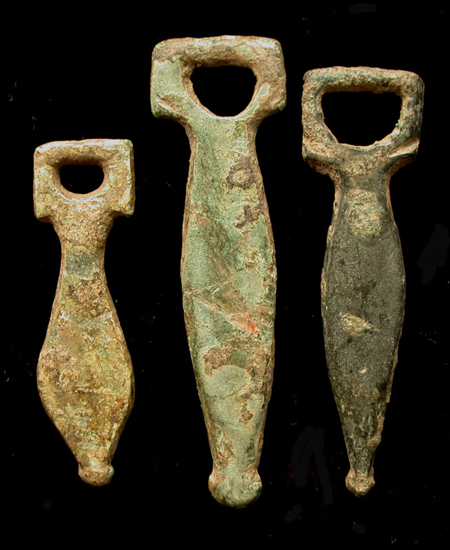 Strap End, Knopped Phallic Trio, ca. 1st-3rd Cent. AD