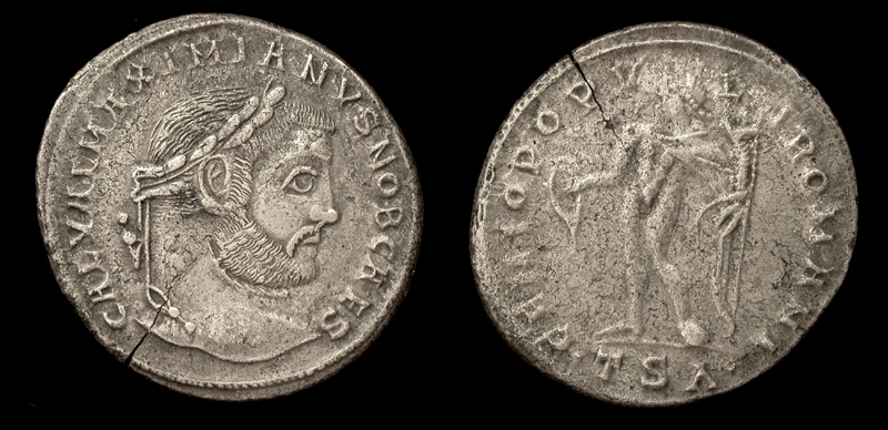 Galerius, as Caesar. Follis, Genius Rx, Thessalonika Mint