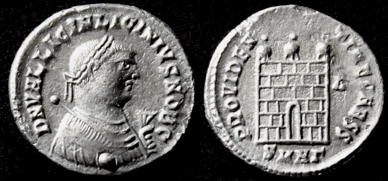 Licinius II, G, M & S Obv, Silvered Campgate, at MS