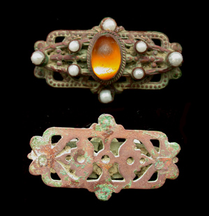 Brooch, 19th Cent with stone and pearls