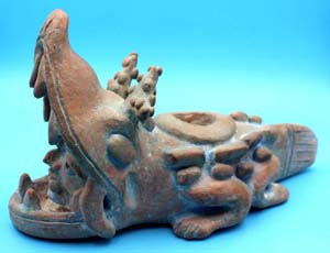 Maya Lamanai City Crocodile Terracotta Figurine