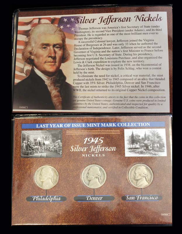Last Year of Issue Series, Silver Jefferson Nickle, 1945