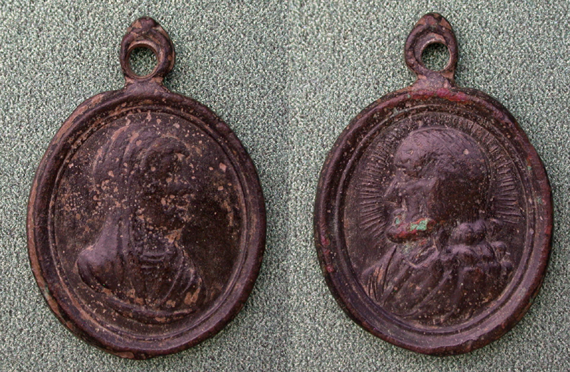 Pendant, Roman Catholic, Virgin Mary and Saint, c. 17th Cent