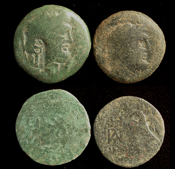 Duo of Olbia City issues, Zeus/Eagle, Caduceus CM and without CM