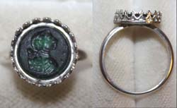Ring, Medieval, Ladies, Green Glass engraved Cameo, 17th-18th Cent. AD