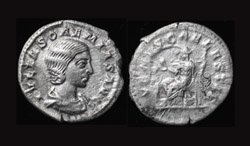 Julia Soaemias (Mother of Elagabalus) AR Denarius, Venus enthroned reverse