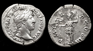 Hadrian, AR Denarius, Roma as Amazon reverse