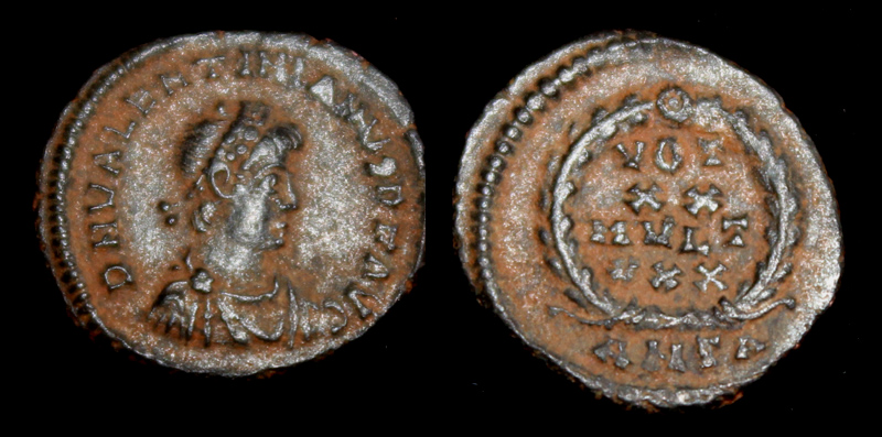 Valentinian II, Æ4, Votive issue, Antioch mint, ca. 378/383 AD