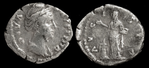Faustina Denarius Memorial Issue, Vesta Sacrificing