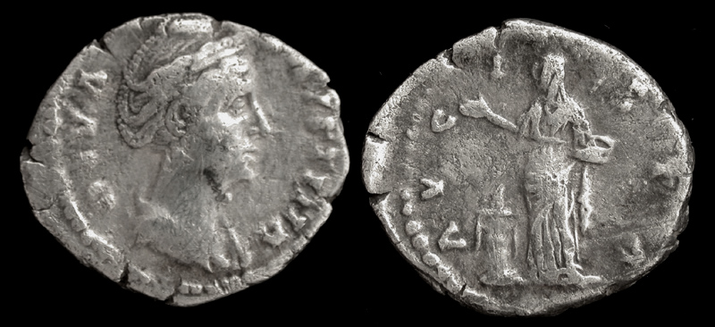 Faustina Senior, Denarius, Memorial Issue, Vesta Sacrificing