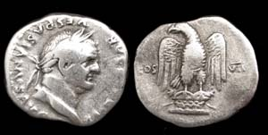 Vespasian AR Denarius, Eagle on Cippus reverse