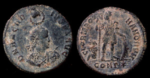 Arcadius Æ 2, Hand of God, Constantinopolis Mint