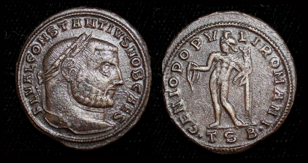 Constantius I, Follis, Genius, Thessalonika Mint