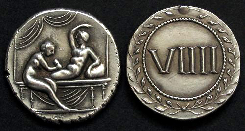 Roman Erotic Spintriae VIIII, Tin Replica
