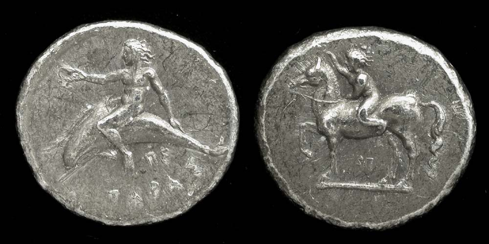 Tarent Didrachm Greece 380-345 BC, Boy on a Dolphin