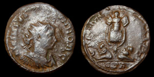 Licinius II, Æ3, Radiate, Virtus and Trophy